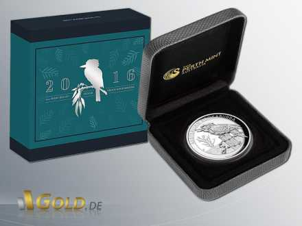 Australian Kookaburra High Relief 5 oz 2016 in Silber mit Shipper