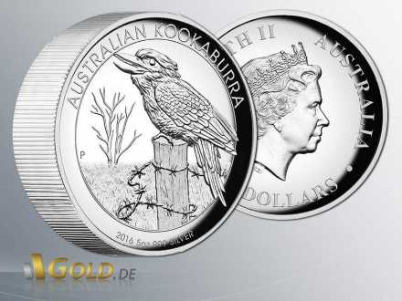 Australian Kookaburra High Relief 5 oz 2016 in Silber