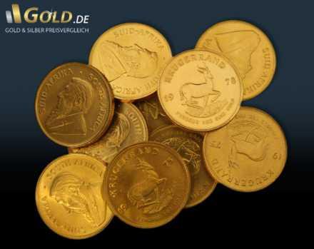 Krügerrand Goldmünzen 1 Unze unterschiedliche färbungen