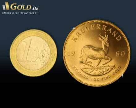 Krügerrand 1 oz Vergleich zur 1 Euro Münze