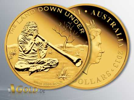 The Land Down Under, 2. Motiv 2013: Didgeridoo Player, 1/4 oz Gold-Münze