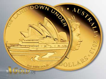 The Land Down Under, Sydney Opera House 2013, Ausgabe als 1/4 oz und 2 oz Goldmünze