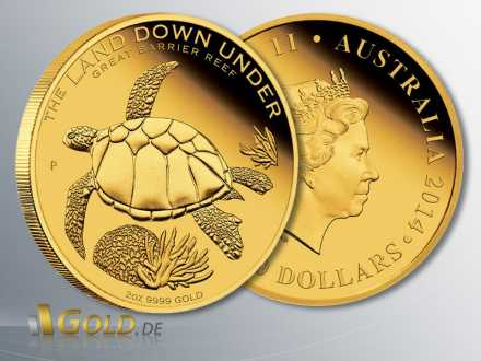 Great Barrier Reef, The Land Down Under, 2 oz Goldmünze, 2. Motiv 2014