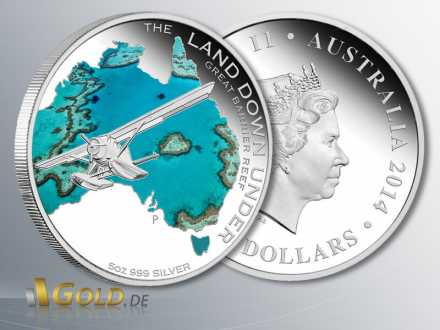 Great Barrier Reef, 2. Motiv 2014 The Land Down Under, 5 oz Silbermünze