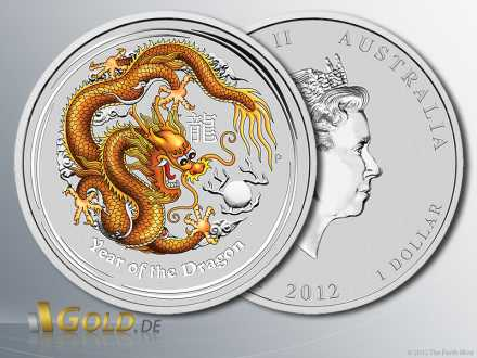 Lunar II Drache 2012 Silber, 1 oz, farbig coloriert in Orange