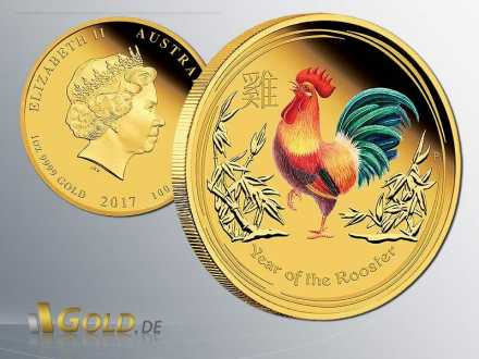 Lunar II Year of the Rooster - Hahn 2017  Proof Coloriert 1 oz Goldmünze