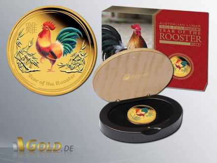 Lunar II Year of the Rooster - Hahn 2017  Proof Coloriert 1 oz Goldmünze Shipper