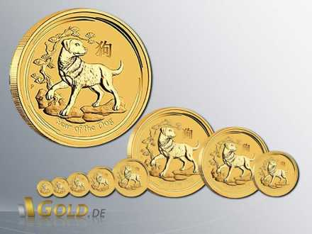 Lunar II Year of the Dog - Hund 2018 Gold 1/20 oz, 1/10 oz, 1/4 oz, 1/2 oz, 1 oz, 2 oz, 10 oz, 1 kg
