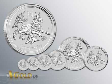 Year of the Dog - Hund 2018 Lunar Serie II Silber Bullionmünze 1/20 oz, 1/10 oz, 1/4 oz, 1/2 oz, 1 oz, 2 oz, 10 oz, 1 kg