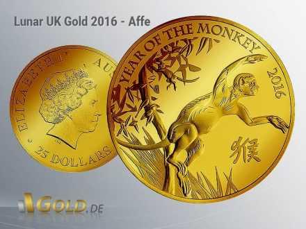 Lunar Britannien 1 oz in Gold, Motiv 2016: Affe