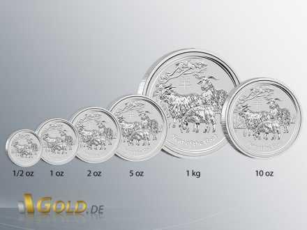 Lunar 2 Ziege Silber 2015, Stückelungen: 1/2 oz,1 oz, 2 oz, 5 oz, 10 oz und 1 kg