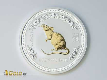 Lunar I Maus (Year of the Mouse) Gold-Applikation (gilded/vergoldet)