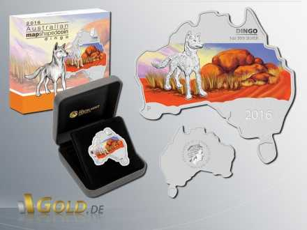 Australian Map Shaped Series 2016 Dingo 1 oz Shipper
