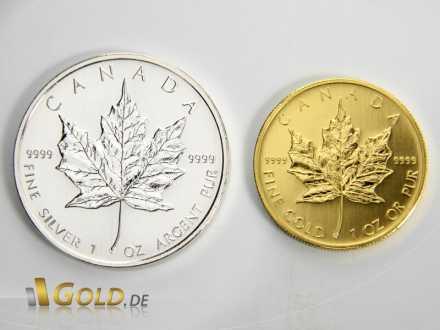 Größenverhältnis des Maple Leaf 1 oz Silber zu 1 oz Gold