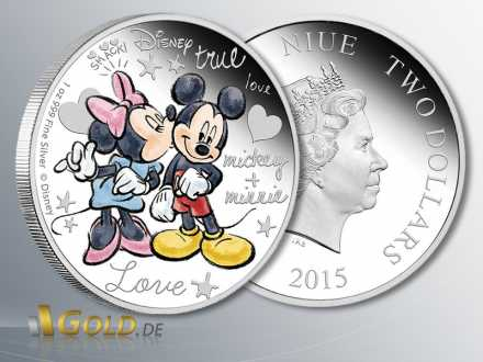 Disney, Mickey and Minnie in Love, 1 oz Silbermünze