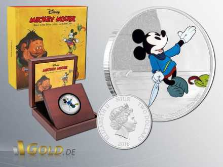 Disney 2016 Mickey Mouse Througe the Age - Brave little Tailor 1 oz Silbermünze Coloriert