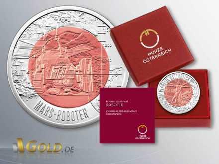 Niob Österreich 25 Euro Silbermünze 2011 Robotik Verpackung