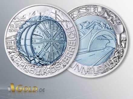 Niob Österreich 25 Euro Silbermünze 2013 Tunnelbau