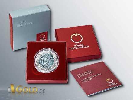 Niob Österreich 25 Euro Silbermünze 2013 Tunnelbau Verpackung