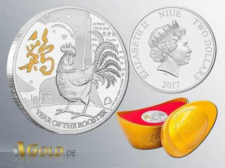 Lunar Niue 2017 Hahn 1 oz Year of the Rooster Gilded Silbermünze + Schipper