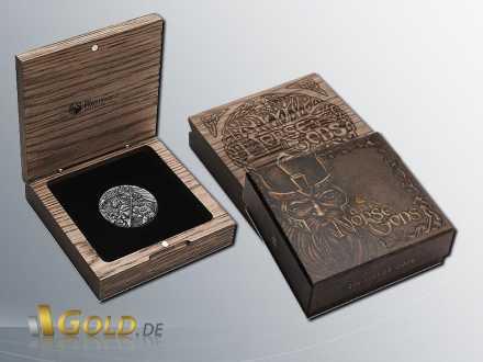 Norse Gods-Odin, 2016, 2oz Silbermünze mit Shipper