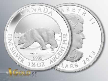 Polarbär, 1,5 oz Silber-Münze, Motiv 2013