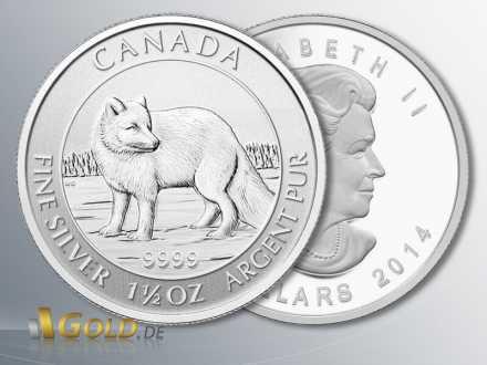 Polarfuchs, 2014, 1,5 oz Silber, Nennwert 8 Dollar