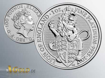 The Queens Beasts 2018 - Lion of England 1 oz Platinmünze