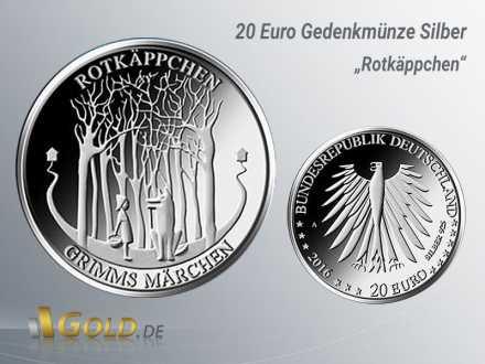 1.  20 Euro Gedenkmünze Rotkäppchen, aus der Serie 200 Jahre Grimms Märchen