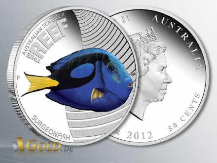 Silber-Münze Surgeonfish 2012 (Doktorfisch), Sealife II - The Reef, 1/2 oz PP