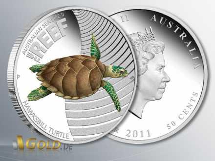 Sea Life II - The Reef, Hawksbill Turtle 2011 (Schildkröte), 1/2 oz PP Silbermünze Silber