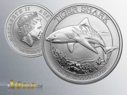 Tiger Shark, Shark Series 2015, 1/2 oz Silber-Münze