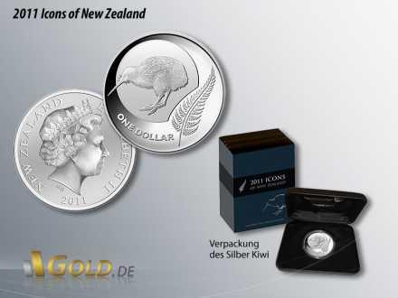 Silber Kiwi von 2011, Icons of New Zealand, Silber-Farn