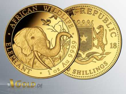 Somalia Elefant Gold, 2018, 1 oz, 1.000 Shillings