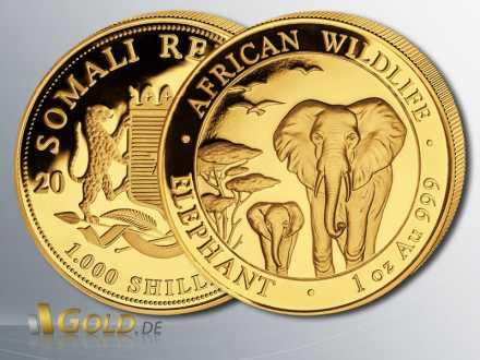 Somalia Elefant Gold, 2015, 1 oz, 1.000 Shillings