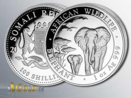 Somalia Elefant Silber, 2015, 1 oz, 100 Shillings