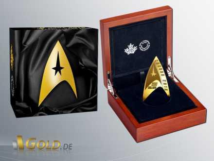 Royal Canadian Mint Deltamünze 50 Jahre Star Trek Gold 16,2 g 2016 Shipper