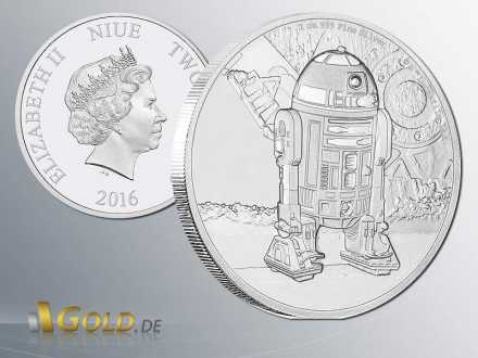 Star Wars Classic 2016 R2D2 1 oz Proof Silbermünze