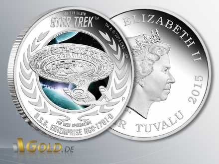 Star Trek, Next Generation - U.S.S. Enterprise NCC-1701-D, Silbermünze 1 oz