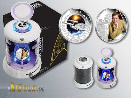 Raumschiff Enterprise, Star Trek, 2 Coin Set Silbermünzen mit U.S.S. Enterprise NCC-1701 und Captain James T. Kirk