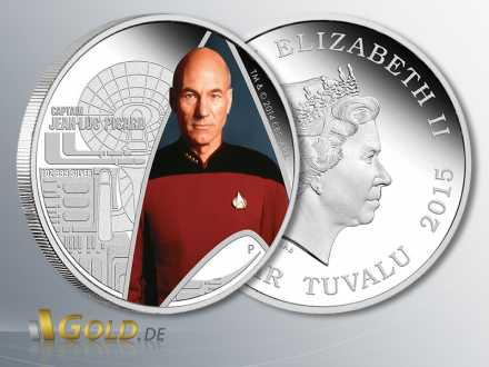 Star Trek, Raumschiff Enterprise Next Generation - Captain Jean-Luc Picard, 1 oz Silber-Münze