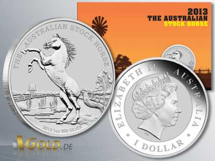 Australian Stock Horse 2013, 1 oz Silber-Münze, mit illustrierter Präsentations-Karte