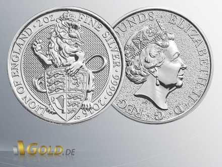The Queen´s Beasts 2016, 2 oz Silbermünze, The Lion of England