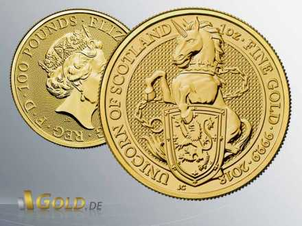 The Queen´s Beasts 2018, 1 oz Goldmünze, The Unicorn of Scotland Proof