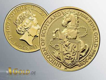 The Queen´s Beasts 2018, 1/4 oz Goldmünze, The Unicorn of Scotland Proof