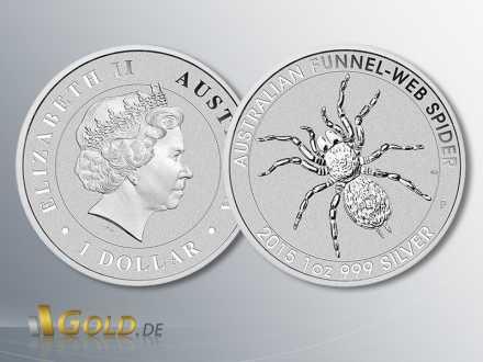 Trichternetzspinne (Australian Funnel Web Spider) Silbermünze 1 oz, 2015