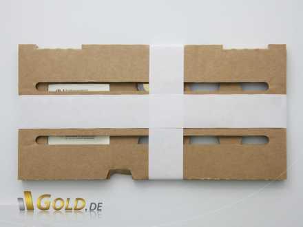 Gut verpackt wird die Goldmünze ausgeliefert