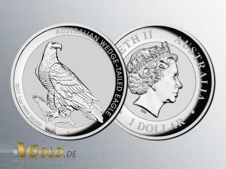 Wedge-Tailed Eagle 2017 - High Relief 1 oz Silbermünze