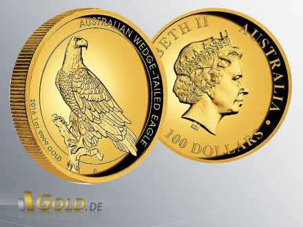 Wedge-tailed Eagle 1 oz Goldmünze, Proof, High Relief