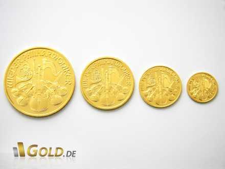 Wiener Philharmoniker Gold Größenverhältnis 1 oz, 1/2 oz, 1/4 oz, 1/10 oz